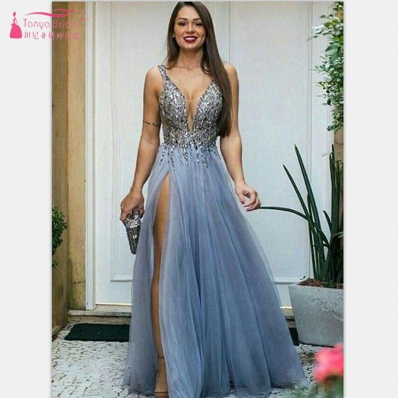 TANYA BRIDAL 2019 Blue Lace Sleevesless High Split   Prom     Dress   Deep V-neck Open Bust Floor-length Sexy Wedding Party   Dress   SS046