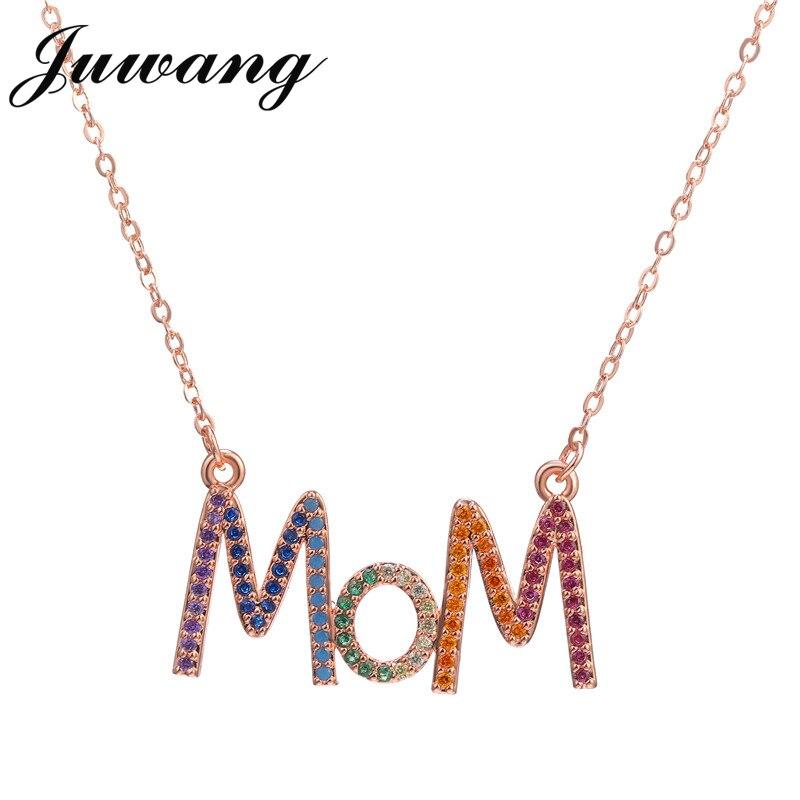 JUWANG multicolore mode 'MOM' breloque or pendentif collier Micro pavé Zircon lettre initiale colliers Couple nom collier 2