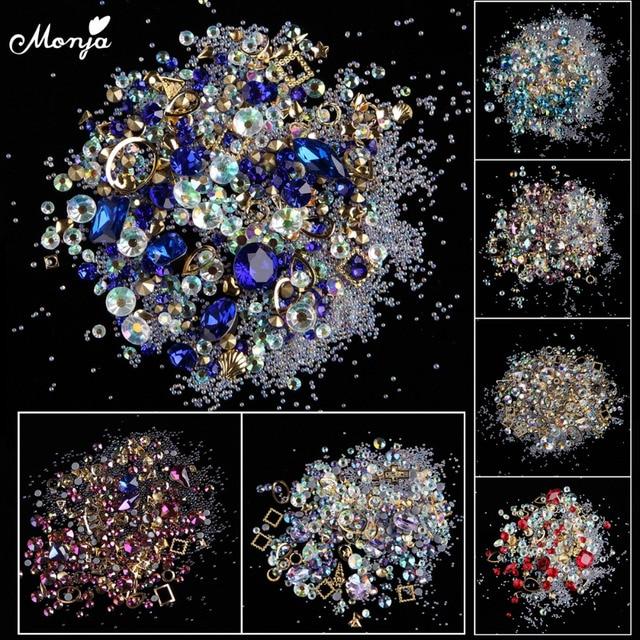 Monja 12 Typ Nail Art Mieszkanie Powrót AB Dżetów Gems Kryształowe Charms Metalowe Szpilki Mieszane Kryształ DIY 3D Ozdoby Akcesoria