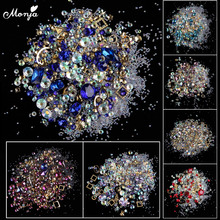 Monja 12 Color Mixed Style Nail Art flat back AB Rhinestones Crystal Gems Charms Metal Studs DIY 3D Decorations