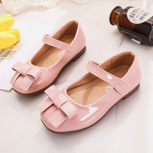 Black Pink Red Childrens leather Shoes Girls bows Princess Kid Shoes For student Single shoes 3T 4T 5T 6T 7T 8T 9T 10T 11T-14T