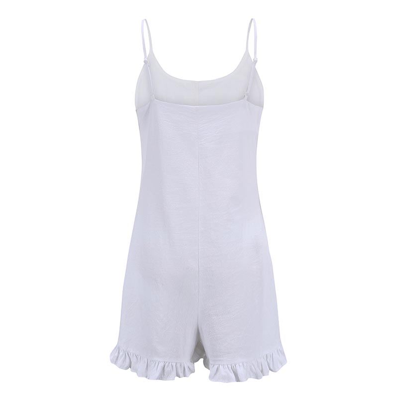 Forefair Sexy jumpsuit Shorts White Ruffles (1)