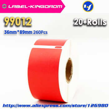 20 Rolls Red Color Dymo 99012 Generic Label 36mm*89mm 260Pcs Compatible for Labelwriter 400 450 450Turbo Printer