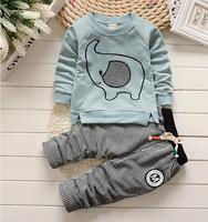 New 2017 Kids Boy Clothes Spring Autumn Elephant Style Baby Wear Sport Suit Long Sleeve T