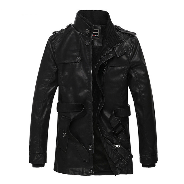 Hot Sale Men's casual Stand collar leather jacket men Slim Fit plus velvet Motorcycle leather jacket coats long section