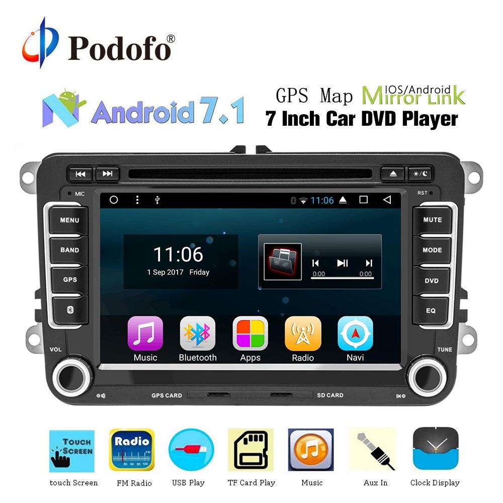 Podofo 2din Auto Lettore DVD di Navigazione GPS Multimedia player Android Autoradio 2 Din USB Per Volkswagen/Passat/POLO /GOLF/Skoda