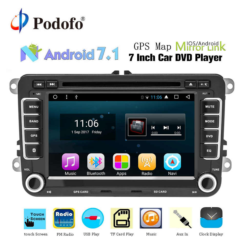 Podofo 2din dvd-плеер автомобиля gps навигация мультимедийный плеер Android Авторадио 2 Din USB для Volkswagen/Passat/POLO/GOLF/Skoda