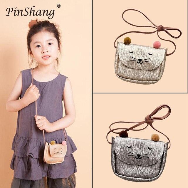 PinShang מיני תיק חמוד חתול אוזן כתף תיק ילדים כל משחק מפתח מטבע ארנק קריקטורה יפה שליח שקיות לילדים ZK40