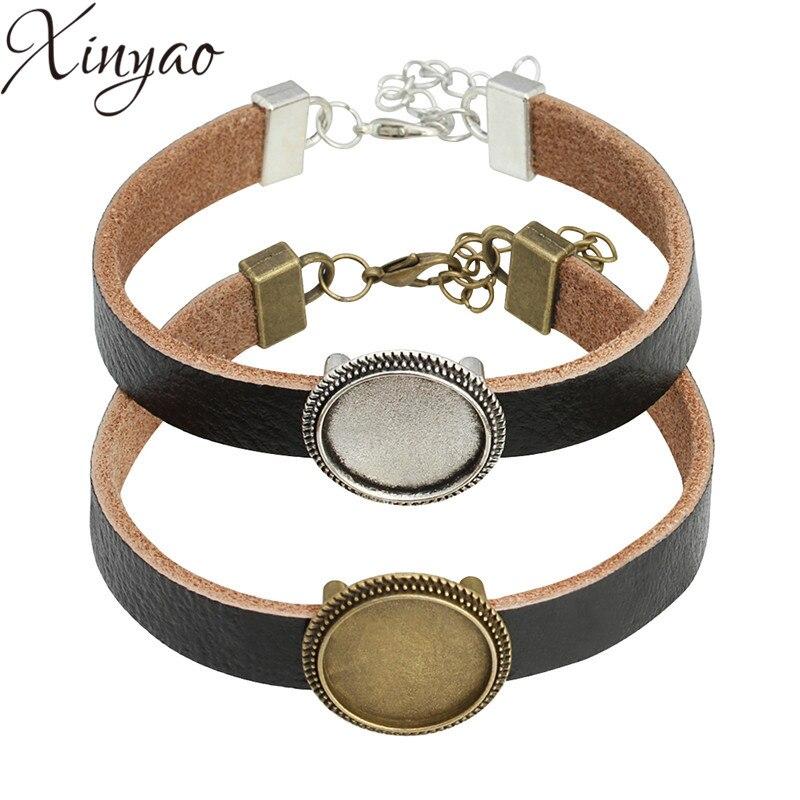 Xinyao Black Leather Cuff Bracelet Bangle Blank Base Fit