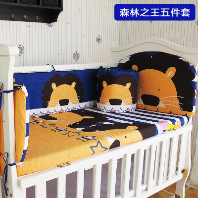 Promotion! 5PCS Cotton bedding baby set for boy/girl kids crib bedding sets bed sheets,include:(bumpers+sheet)