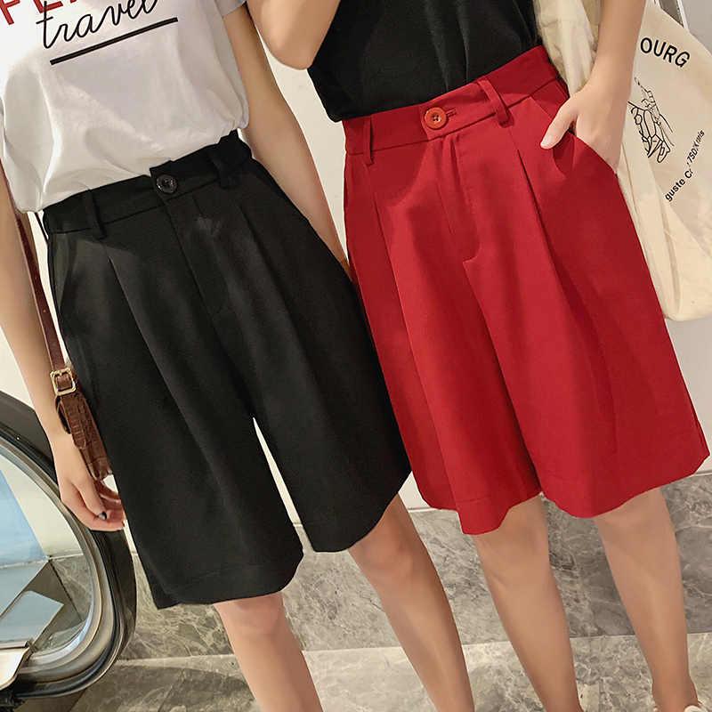 Sprzedaż szorty do kolan dla kobiet szorty z wysokim stanem szerokie nogawki czerwony czarny krótkie spodnie kobiet dorywczo mody krótkie feminino