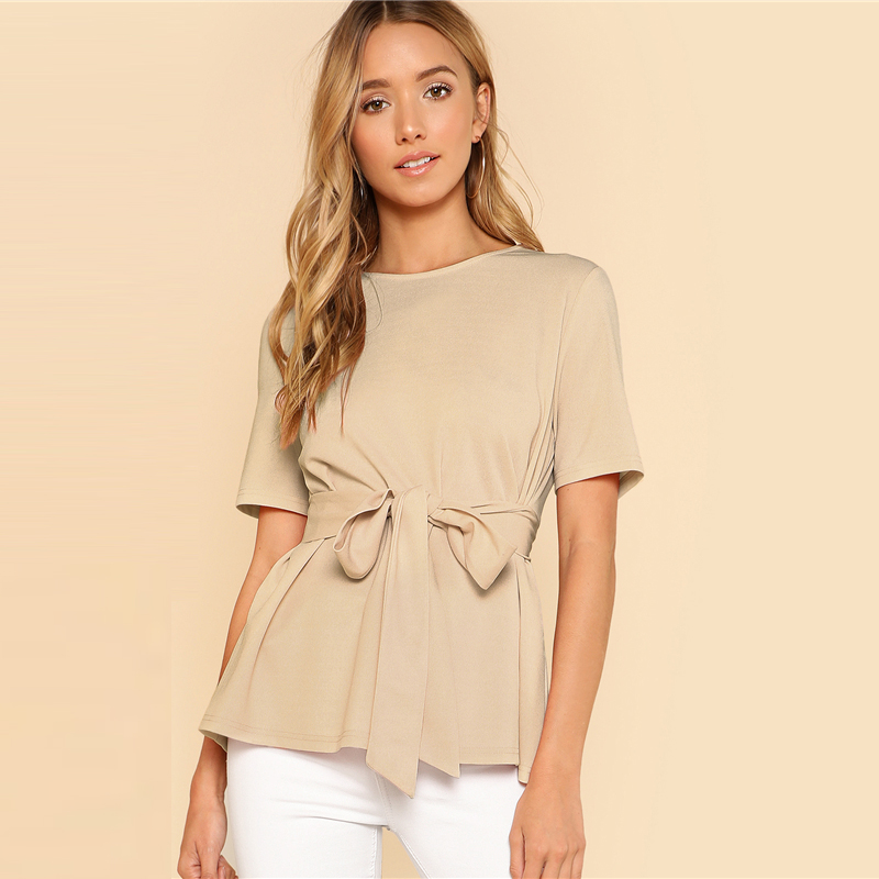 Sheinside Self Belt Keyhole Back Blouse Solid Short Sleeve Top 18 Summer Women Office Ladies Work Elegant Blouse 19