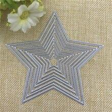 Moldura de metal com 8 estrelas, estêncil de metal para scrapbooking, fotos, gravações, cartões de papel, artesanatos decorativos, cortadores