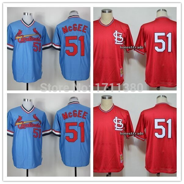 St.Louis Cardinals throwback jersey 51 Willie McGee jersey Retro Stitched cheap authentic sport baseball jerseys custom M-3XL
