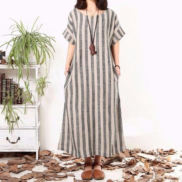 6f403be5bc3cd 2018 Fashion Women Striped Dress Summer Vintage Short Sleeve Maxi Long  Dresses Ladies Casual Loose Plus
