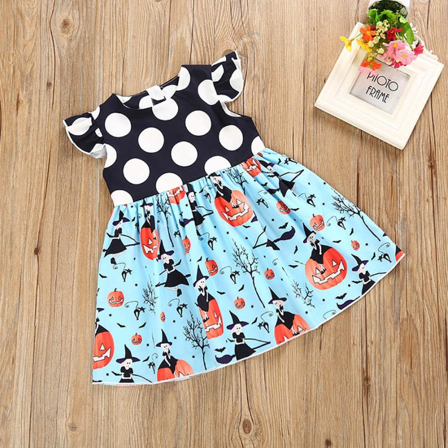BMF TELOTUNY Fashion Girls Dresses Toddler Kids Baby Girls Halloween Pumpkin Cartoon Princess Dress Outfits Clothes Jun21