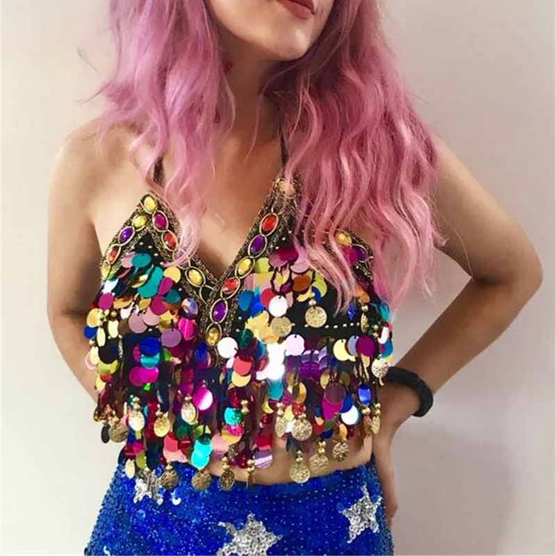 Rainbow Sequin Tassel Mermaid Mirror Festival Body Harness Bra Bralette Crop Top Beading Coins Lace-Up Chiffon Boho Camis Top Top