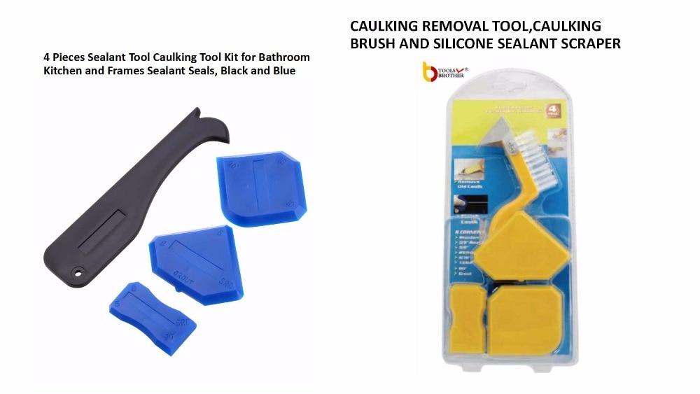 Free Shipping 4pcs Silicone Caulking Tool Kit And 4 Piece Caulking Silicone Tool Kit Nylon Brush Scraper Edging Tools