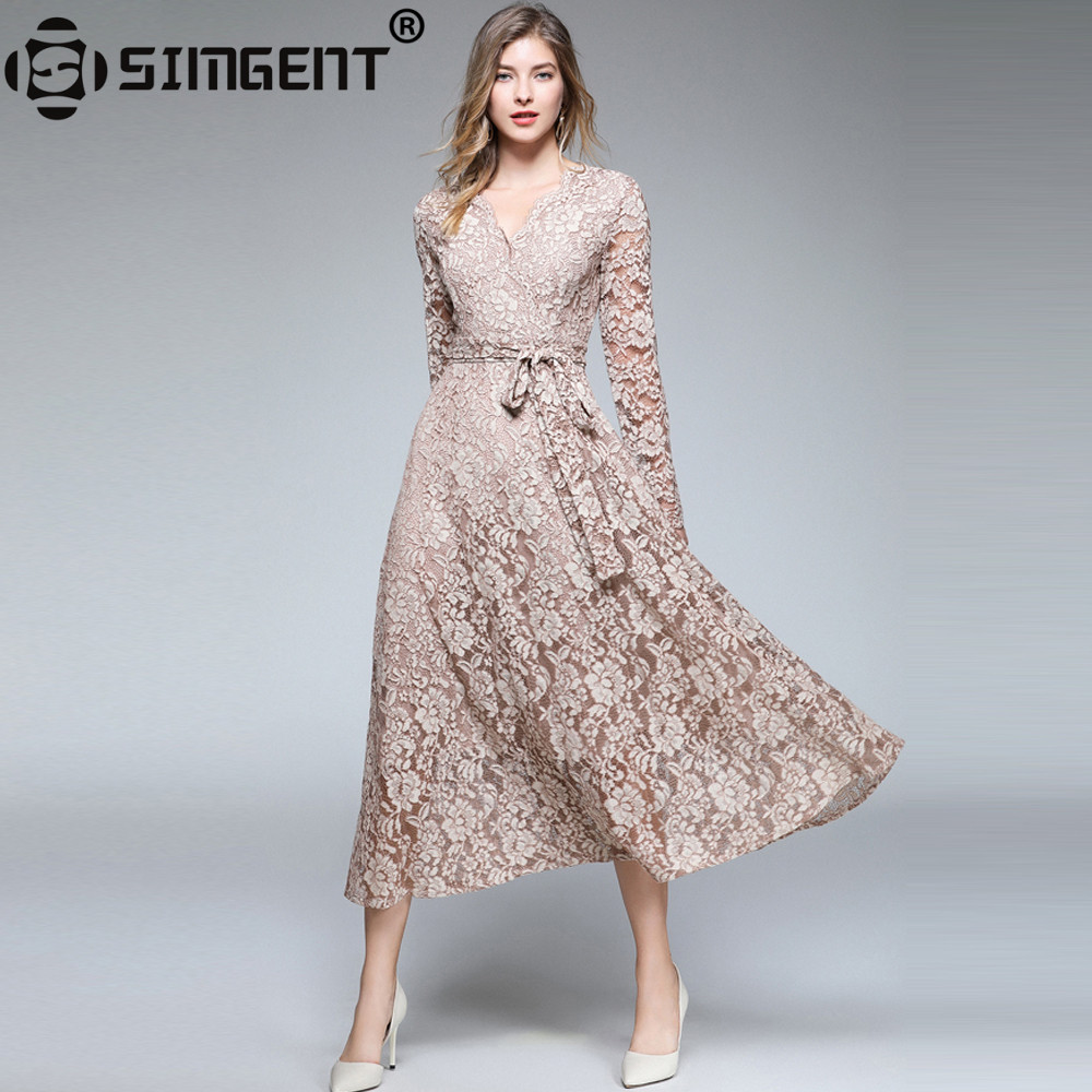 Simgent Thick Autumn Womens Long Sleeve V-Neck Elegant Long Casual Lace Dress Spring Women Cloth Vestidos Robe Dentelle SG88131