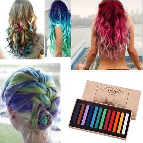 פריט חם! 12 צבעים זמני פסטל שיער DIY סלון ציור מהיר הארכת דיי גיר