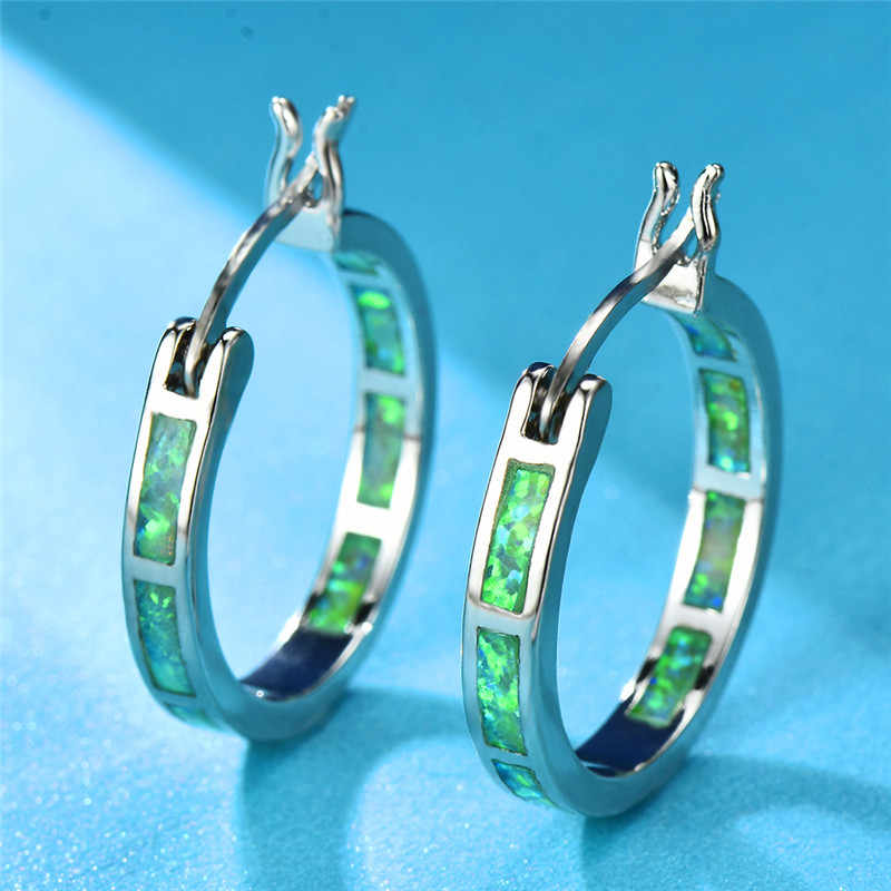 Minimalist Style Green Blue White Fire Opal Earrings For Women Men 925  Silver Filled Round Circle 796f759bd9b3