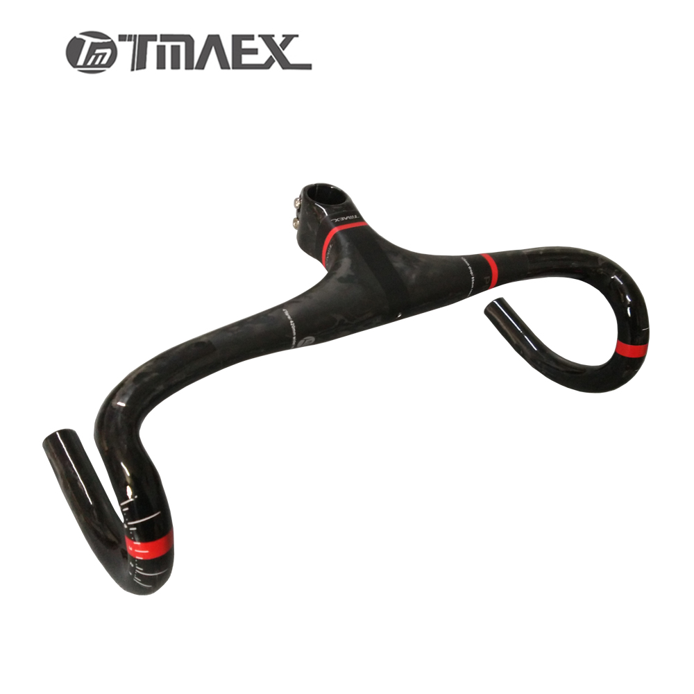 TMAEX-PRO Super light 100% Carbon Fiber Integrated Road Bicycle Handlebar Road Carbon Handlebar With Stem Cycling Bike Parts og evkin carbon road bike aero frame with integrated handlebar bicycle cycling sports parts bb86 di2 max 25mm tire glossy matt