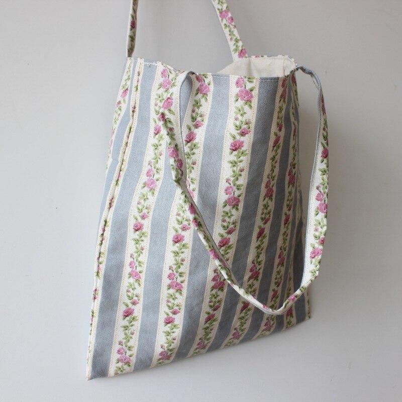 Brand New Handmade Cotton Linen Shopping Bag Carrying Tote Print Stripe Flower Blue D08