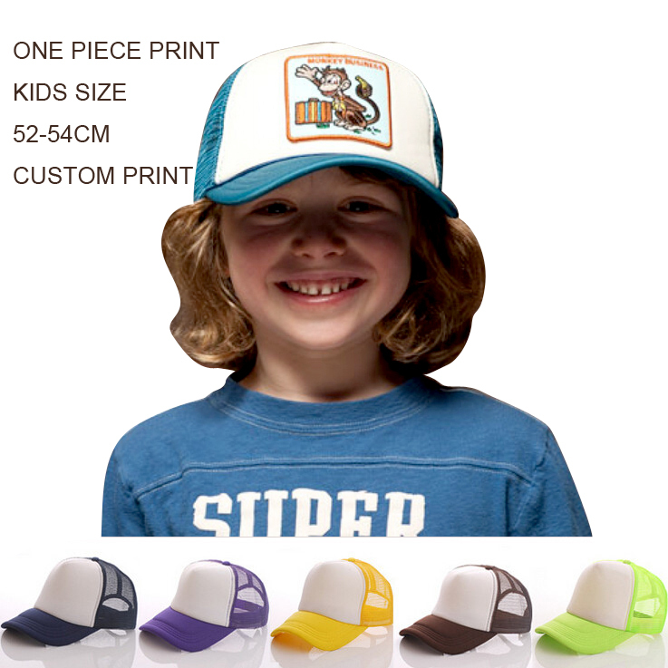 424152a7 Custom Trucker Cap Kids Free Print Text Logo Boys Girls Personalized Gifts  Children Curved Visor Hat Adjustable Free Shipping-in Baseball Caps from  Apparel ...