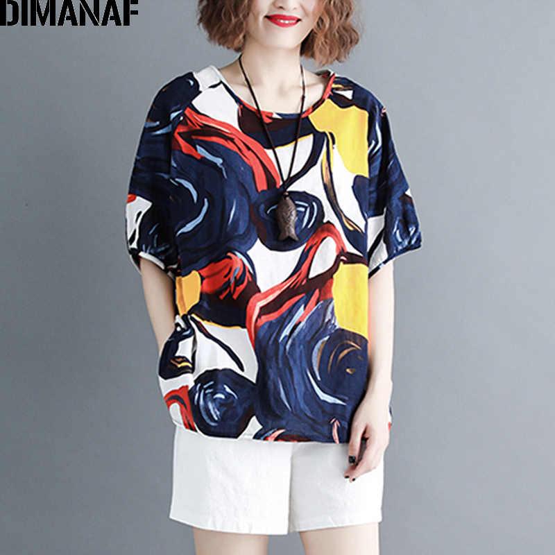 DIMANAF grande taille femmes T-Shirts basique dame tops tuniques T-Shirts o-cou femme vêtements coton mode impression lâche t-shirt 2019 été