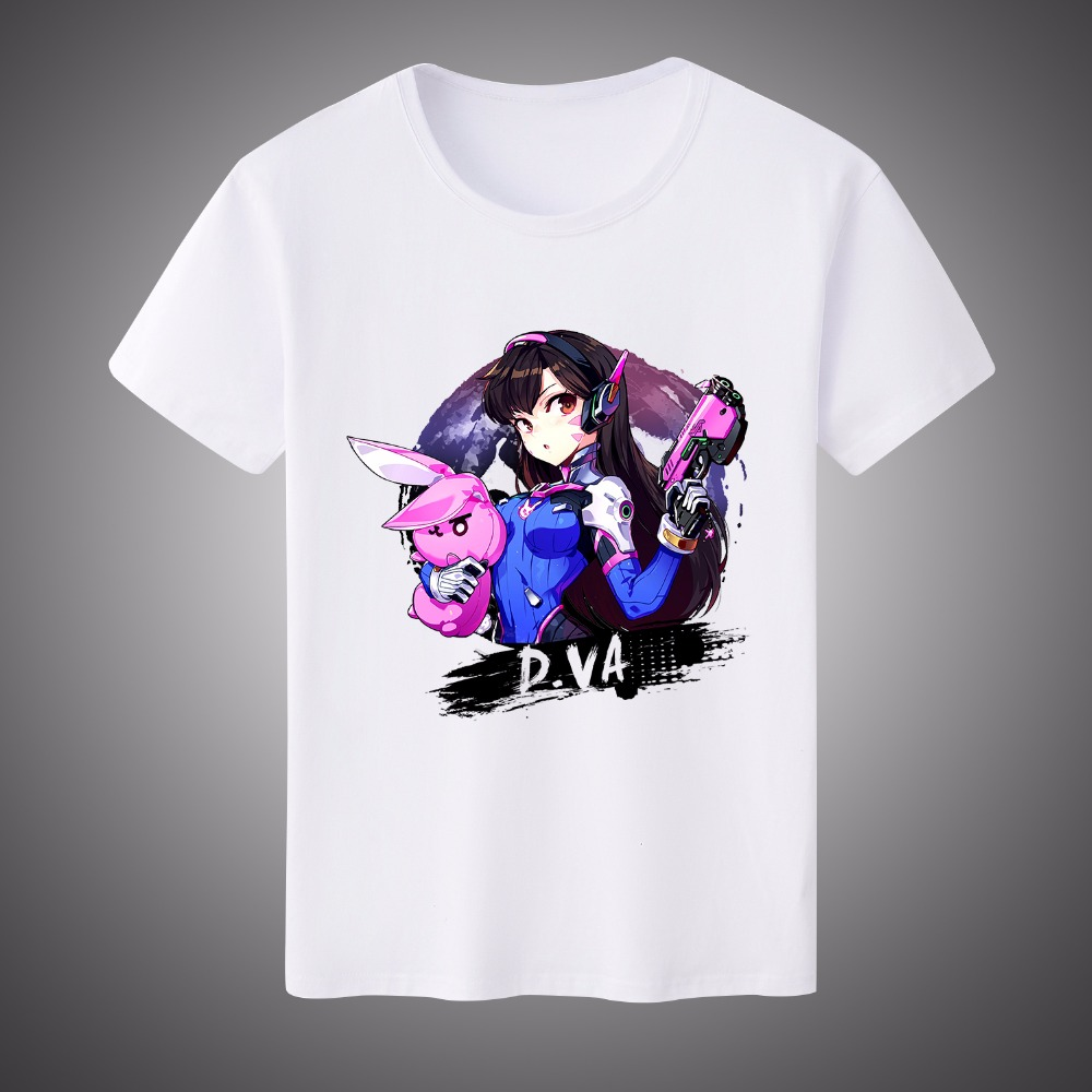 Free Shipping Game OW D.VA Mccree Reaper Genji Sombra Print T-shirt  Milk Silk  Short Sleeves Shirt TOP Cosplay