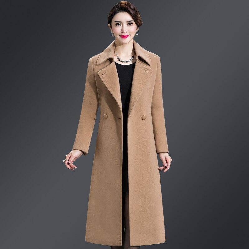 Bleu Coat purple Hiver Long Pardessus Black Coat Coat Qualité Coat 2018 Manteau burgundy Taille Femme Veste Femmes Automne Boutonnage De Laine blue Revers Double En Woolen Wool Coat camel Grande Haute S5xXwFx7q