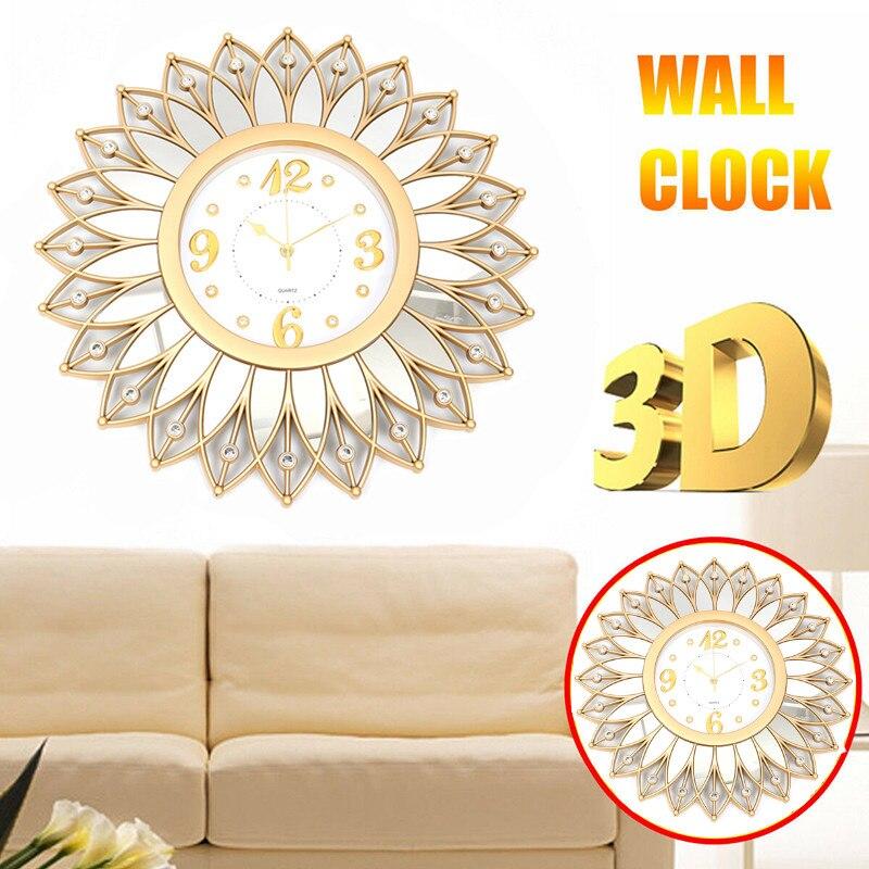 Nouveau 3D bricolage métal Art horloge murale fleur Silen horloge circulaire rétro Roman Vintage grande muette horloge décorative pour maison bureau