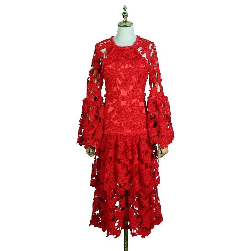 2019 Red Oxant Vestito Torta fuori Della Solubile Scavato Manicotto Dress Strato Corno Merletto Delle In Acqua Del Il Primavera Donne rZtxZn6
