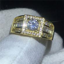 Pasjans męski żółty złoty wypełniony pierścień 5mm AAAAA cyrkon cz obrączka obrączki dla mężczyzn biżuteria tanie tanio Pierścionki Moda Wszystko kompatybilny Serce Zaręczyny Pave ustawianie Zespoły weselne Cyrkonia vecalon 10mm Mężczyźni
