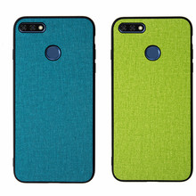 For Huawei Y7 Pro 2018 Honor 7c Enjoy 8 back cover silicone edge fabric case coque For Huawei Honor 7c