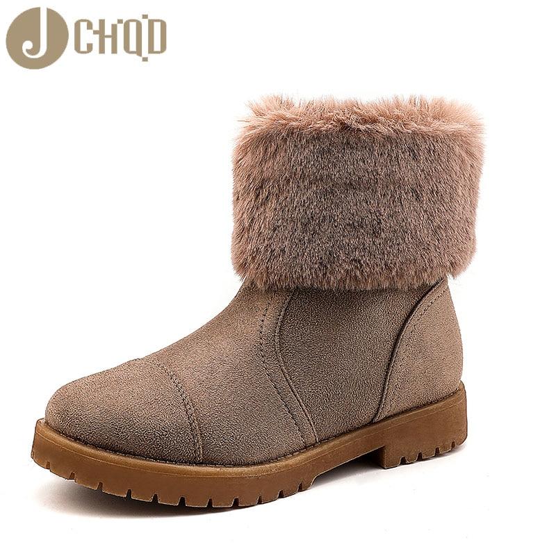 JCHQD 2019 European Style Boots Women High Quality Shoes Women Short plush snowboots with warm interior European sizes 36-42 36