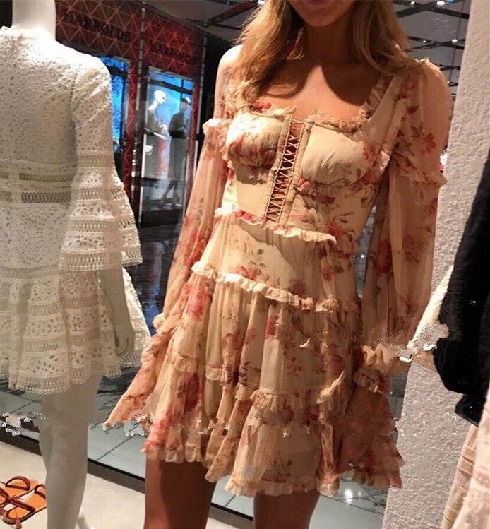 Robe de créateur de piste femmes 2018 Vinatge manches longues volants Floral imprimé robe en mousseline de soie pour le printemps été