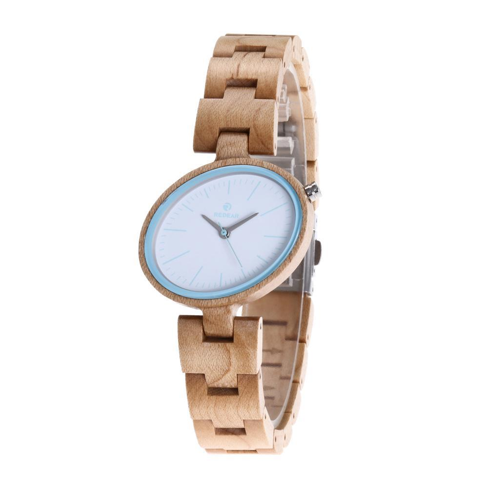 REDEAR Unique Fashion Wood Watch Women Watches Top Brand Women's Watches Oval Wooden Watch Clock saat montre femme reloj mujer bobo bird brand new sun glasses men square wood oversized zebra wood sunglasses women with wooden box oculos 2017
