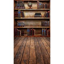 Vinyl photography backdrops Library bookshelf photo background computer printed wood floor backgrounds for photo studio F-2691(China)