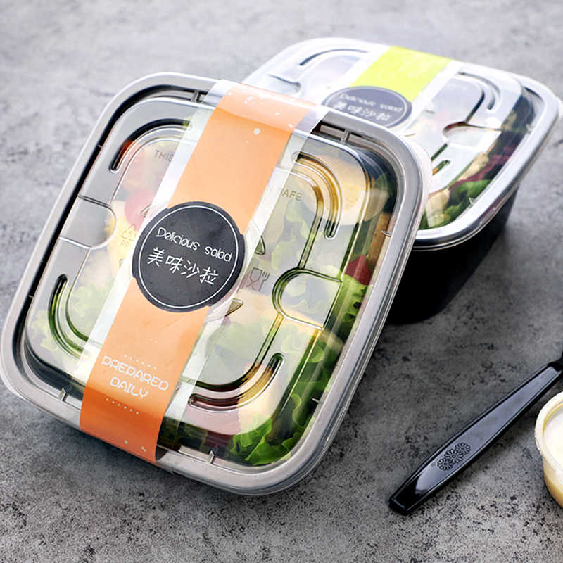 Food Grade PP Square Dinner Boxes Take-out Packing Lunch Salad Box Soup Bowl With Lid Fresh Food Container Microwave Available