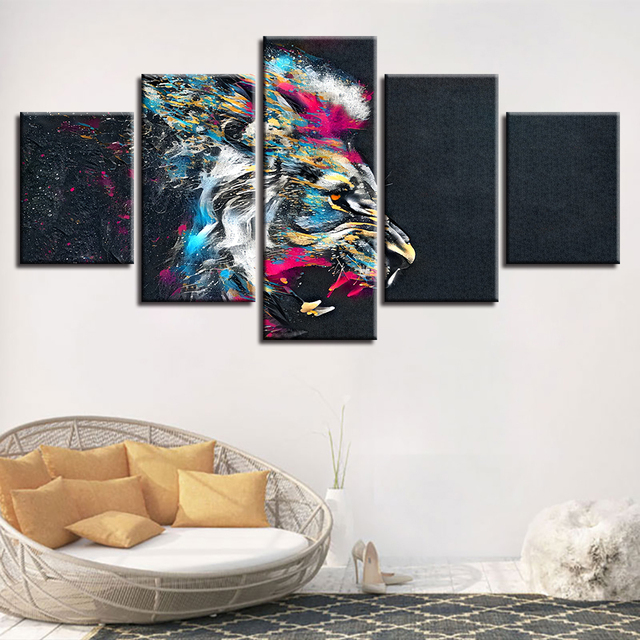 Home Decor Living Room Wall Art Frame 5 Pieces Colorful Lion Animal Abstract Pictures Posters Modular Canvas Paintings HD Prints