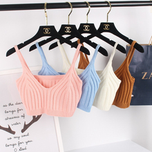 Knitted Tank Top Cropped Women Hot Sale All-matched Bustier Crop Tops Short Knitted Tanks Mini Tight Bandage Knit Vest Female
