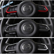 Lapetus Car Styling ABS Steering Wheel Frame Strip Cover Trim Fit For Mazda CX-9 2017 2018 2019 Red / Matte / Carbon Fiber Look lapetus car steering wheel frame cover trim 2 pcs fit for hyundai kona 2018 2019 carbon fiber look