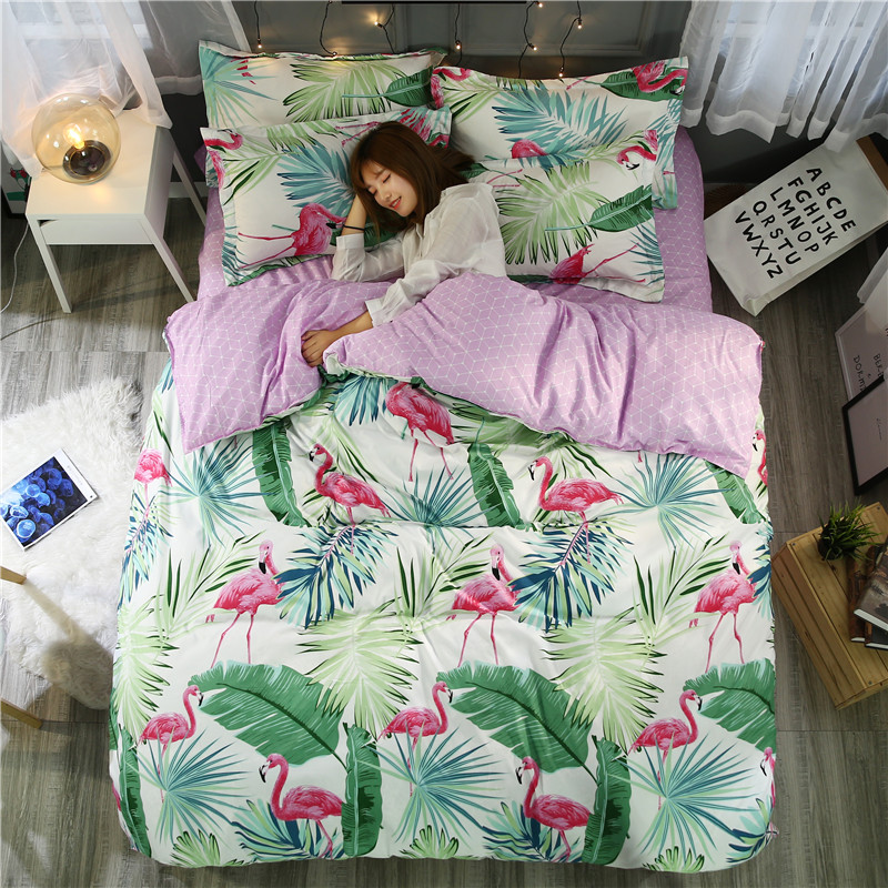 Flamingo Bedding Set Tropical Plant Quilt Cover queen full King <font><b>Size</b></font> Home <font><b>Bed</b></font> Set Flower Print Pink and Green Bedclothes 4pcs