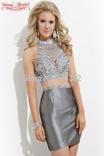 2015 moderne Elegante Cocktail Kleider High neck Sleeveless Knielangen Vestidos De Coctel Cocktailkleider Für Hübsche Mädchen AZ88