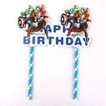 1 компл. Мстители с днем рождения торт Кекс Топпер дети ребенок душ День Рождения украшения принадлежности