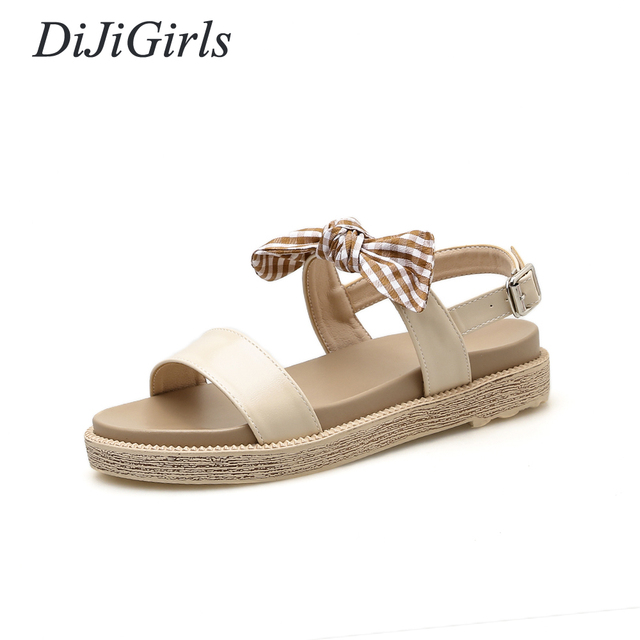 e1b1c8870038a6 DiJiGirls Summer Fashion women s Low-heeled shoes Butterfly-knot Sandals  flat Concise shoes woman US5-8.5 Black Apricot
