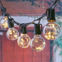 Safety 12V 25Ft G40 Globe String Lights With Clear Bulb Backyard Patio Lights Vintage Bulbs Decorative