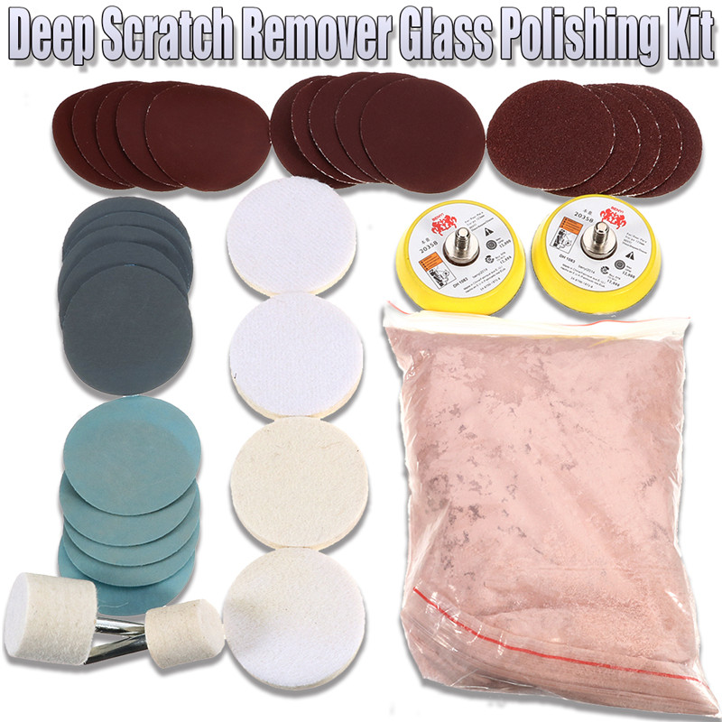 34pcs/set Deep Scratch Remove Glass Polishing Kit 8 Oz Cerium Oxide Sanding Disc Wool Polishing Pad For Windscreen Windows Strengthening Sinews And Bones