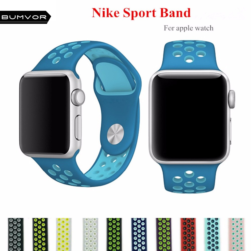 BUMVOR colorful Silicone strap for apple watch band 42mm Rubber sport bracelet wrist band With Adapter for iwatch  NIKE 1 2 3 22mm 24mm silicone rubber band for 38mm 42mm iwatch apple watch sport edition stainless steel buckle strap bracelet with adapter